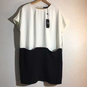 NWT Vertigo black and white shirt dress